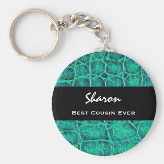 Best COUSIN Ever Teal Green Alligator Print Gift Basic Round Button Keychain