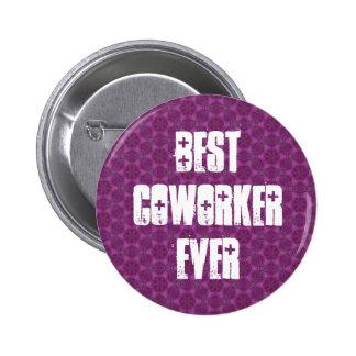 Best Coworker Ever Modern Purple Stars Design Button
