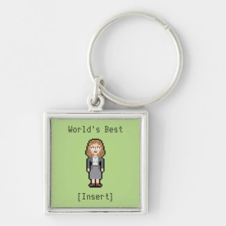 Best Custom Pixel Female Profession Silver-Colored Square Keychain