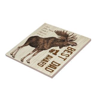 Best Dad # 1 Dad Award Vintage Moose Ceramic Tile