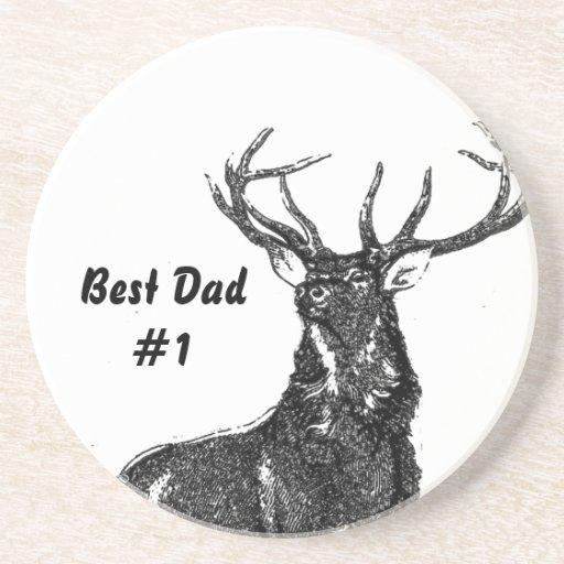 Best Dad #1 Vintage Buck Coasters