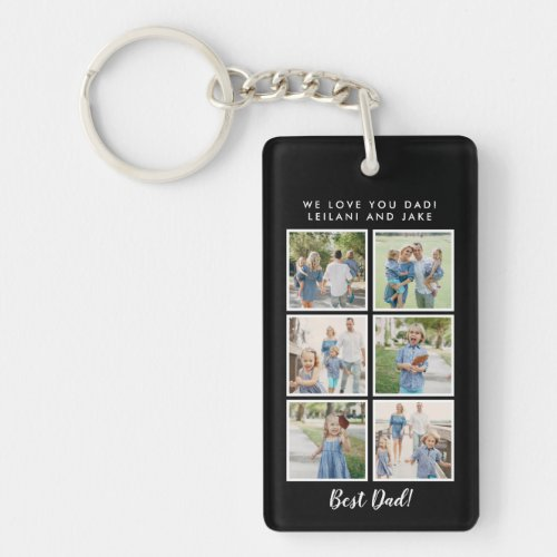 Best Dad 6 Photos with Custom Message  Keychain