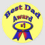 Best Dad Award - Choose background color Classic Round Sticker