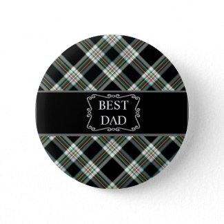 Best Dad Black Tartan Button