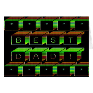 Best Dad Blocks Text Green and Brown Card