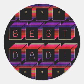 Best Dad Blocks Text Red & Purple Classic Round Sticker