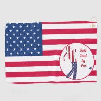 Best Dad by Par | American Flag Golf Player Golf Towel