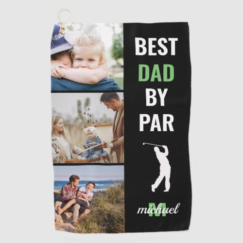 Best Dad By Par Photo Monogram Fathers Day Gift Golf Towel