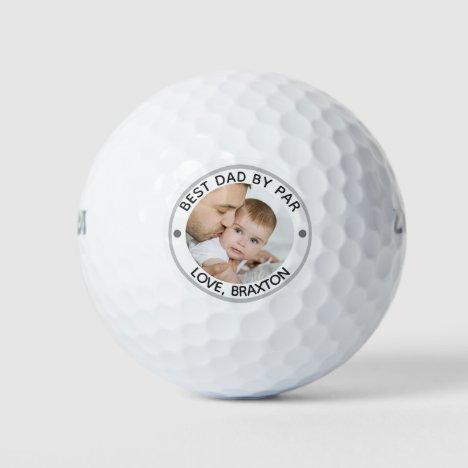 BEST DAD BY PAR Photo Personalized Golf Balls
