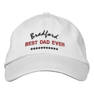 BEST DAD Custom Name RED BLACK Embroidery V01C8 Baseball Cap