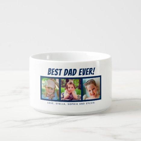 Best Dad Ever 3 Photos Navy Blue Soup Bowl