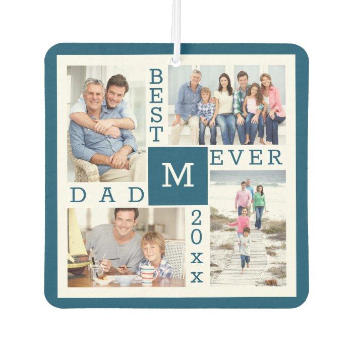 Best Dad Ever 4 Photo Collage Blue & White Custom Air Freshener