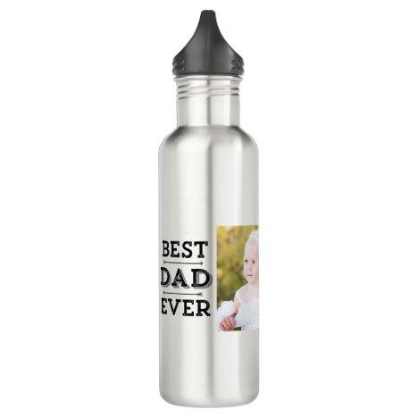 Best Dad Ever Arrows Custom Photo Stainless Steel Water Bottle