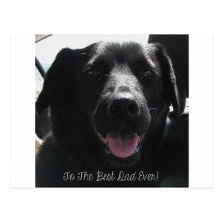 Best Dad Ever Black Dog Design Postcard