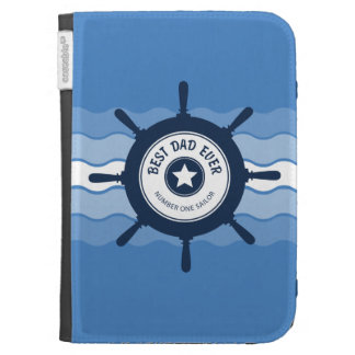 Best Dad Ever Blue Ships Wheel and Waves Kindle 3 Covers
