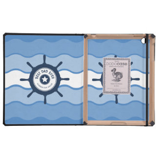 Best Dad Ever Blue Ships Wheel and Waves iPad Covers