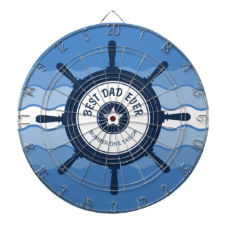 Best Dad Ever Blue Ships Wheel and Waves Dart Board