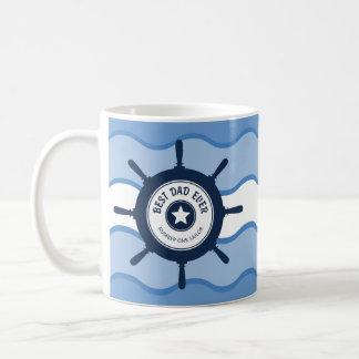 Best Dad Ever Blue Ships Wheel and Waves Mug