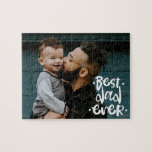 """Best Dad ever Custom Photo Father's Day Gift Jigsaw Puzzle<br><div class=""""desc"""">Challenge dad to find out himself what your message for father's day is. Best dad ever script over a custom photo puzzle will provide just the fun</div>"""