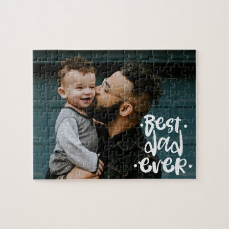 Best Dad ever Custom Photo Father's Day Gift Jigsaw Puzzle