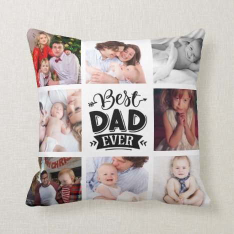 Best Dad Ever Custom Photo Personalized  Throw Pillow