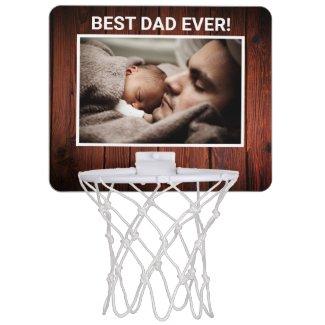 Best Dad Ever Custom Photo (rustic wood) Mini Basketball Hoop