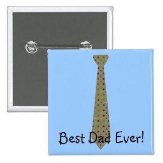Best Dad Ever Dark Polka Dot Fake Tie Button