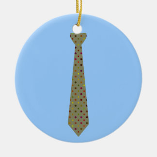 Best Dad Ever Dark Polka Dot Fake Tie Double-Sided Ceramic Round Christmas Ornament