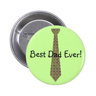 Best Dad Ever Dark Polka Dot Fake Tie Pinback Button
