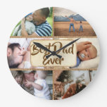 Best dad ever DIY 6 photo rustic jute picture Large Clock
