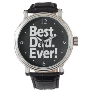 Best Dad Ever Exclamation Black/White Father's Day Wrist Watch