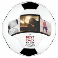 Best Dad Ever Father`s Day 3 Photo Collage Soccer Ball