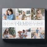 """Best Dad Ever   Father's Day 6 Photo Plaque<br><div class=""""desc"""">Create a sweet gift for a beloved father with this six photo collage plaque. """"Best Dad Ever"""" appears in the center in soft gray and blue lettering,  with your custom message and children's names overlaid.</div>"""