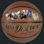 """Best Dad Ever Father's Day Keepsake Basketball<br><div class=""""desc"""">Modern father's day keepsake basketball gift featuring five photos of your family,  the message """"best dad ever"""" ina black & gold font,  your childrens names,  and the year.</div>"""
