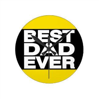Best Dad Ever Lg Yellow Round Clock