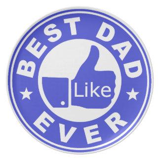 Best Dad Ever Like - Blue Melamine Plate