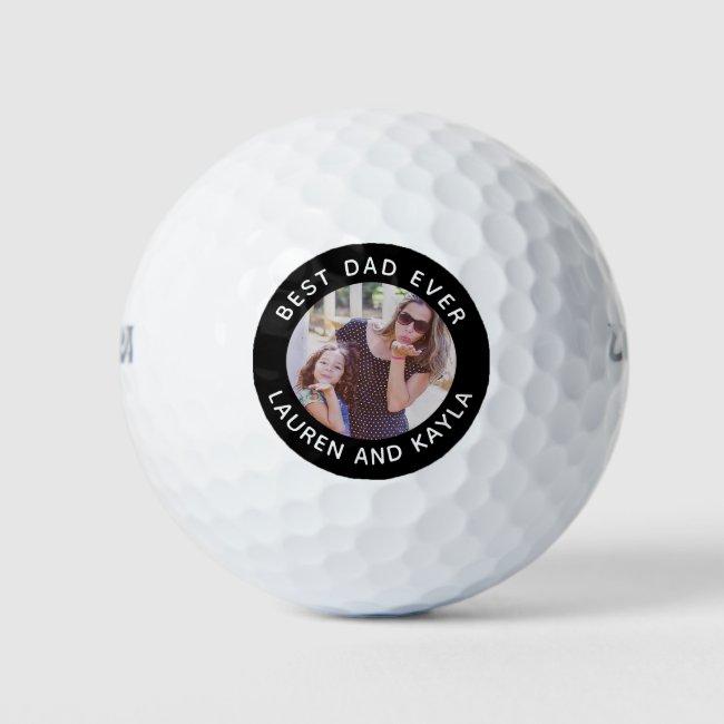 Best Dad Ever Modern Photo Golfer Father Birthday Golf Balls