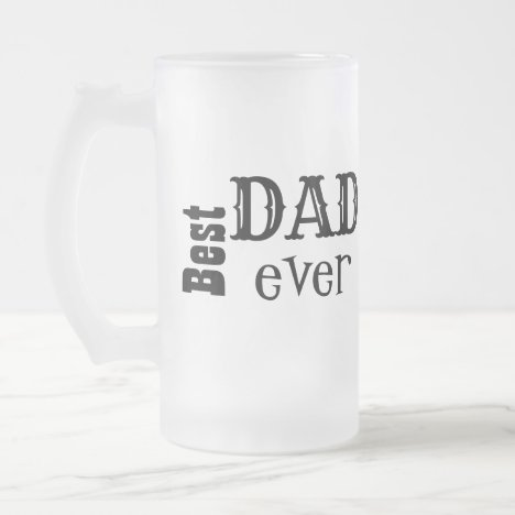 Best Dad Ever Monogram Bold Font Frosted Glass Beer Mug
