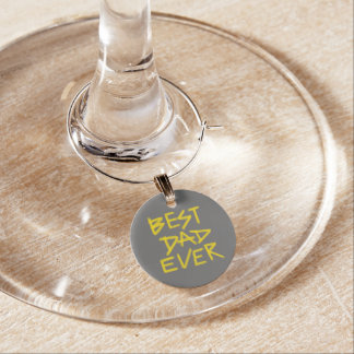 Best Dad Ever Neon Yellow (Customizable Color) Wine Charm