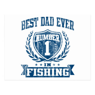 Best Dad Ever Number One In Fishing Postcard