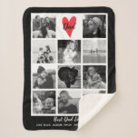 """Best Dad Ever Photo Collage Father's Day Birthday Sherpa Blanket<br><div class=""""desc"""">Wrap your dad or loved one in this super soft, super cozy sherpa fleece blanket. Design features 11 of your favorite photos - Perfect for uploading square Instagram photos. Center square features a heart and """"Dad"""" text but easily change to Mom, Grandpa, etc. Also add custom text below such as...</div>"""