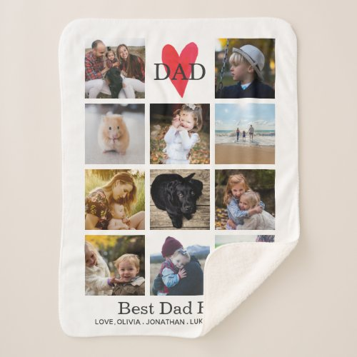 Best Dad Ever Photo Collage Fathers Day Birthday Sherpa Blanket