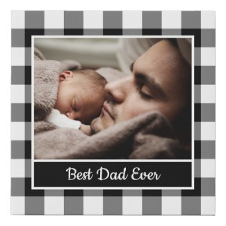 Best Dad Ever Photo on Black White Buffalo Check Faux Canvas Print