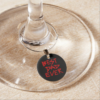 Best Dad Ever Red Paints (Customizable Color) Wine Glass Charm