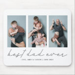 """Best Dad Ever Simple Photo Collage Mouse Pad<br><div class=""""desc"""">Modern and simple father's day or birthday gift for a dad featuring multi photo collage of your choice with a script text that says """"Best Dad Ever"""" under them. Customize this product by adding the children's names and date as a memory. Perfect keepsake gift for fathers.</div>"""