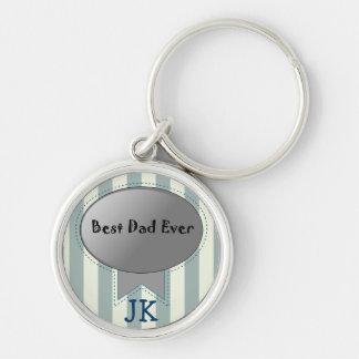 Best Dad Ever text & Monogram keychain