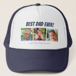 "Best Dad Ever | Three Photos Trucker Hat<br><div class=""desc"">This hat features three photo frames for pictures of children or dad. Dark blue text ""Best Dad Ever"" appears above the pictures and custom text below allows you to personalize with children's names. This is a perfect heartfelt Father's Day or birthday gift for any dad.</div>"