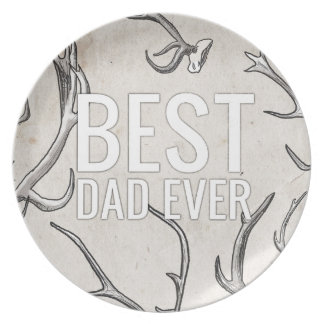 Best Dad Ever with antlers Plate