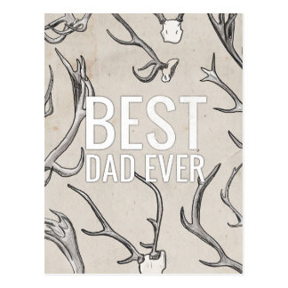 Best Dad Ever with antlers Postcard
