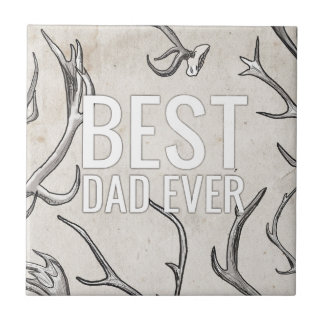 Best Dad Ever with antlers Small Square Tile